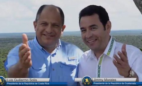Newly Elected President Jimmy Morales of Guatemala and President Morales Solis of Costa Rica Visit Mirador National Park