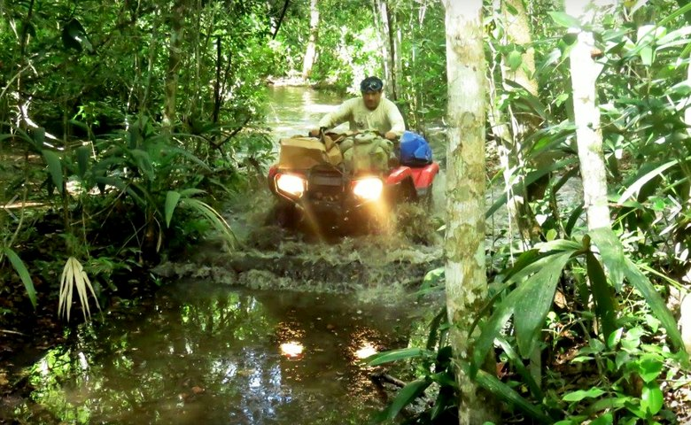 Typical Mirador Ranger on patrol with All Terrain Vehicles (ATVs) provided by Global Conservation.